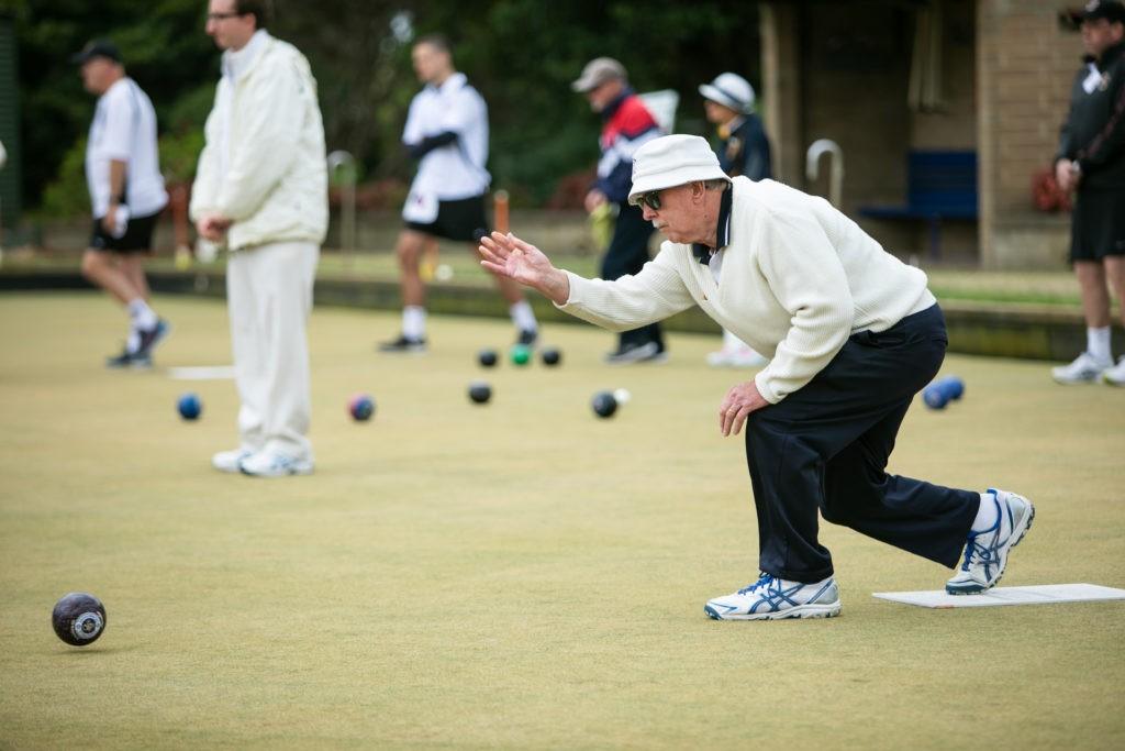 Phil Crabtree playing bowls